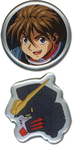 Gundam Wing Duo And Hell Pinset officially licensed Gundam Wing Pins & Badges product at B.A. Toys.