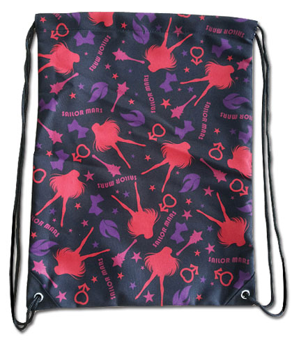 Sailor Moon - Sailor Mars Pattern Drawstring Bag, an officially licensed Sailor Moon Bag