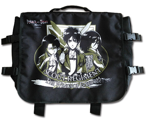 Attack On Titan - Eren, Mikasa & Levi Messenger Bag, an officially licensed product in our Attack On Titan Bags department.