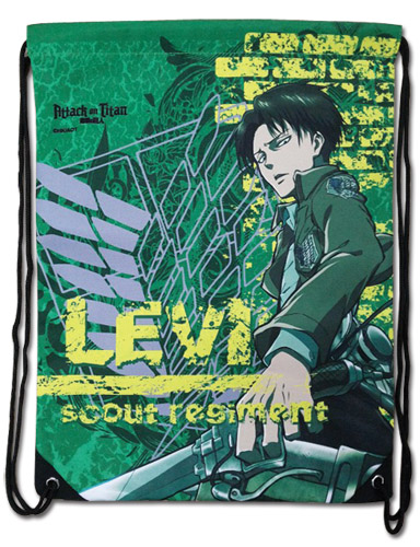 Attack On Titan - Levi Green Drawstring Bag, an officially licensed product in our Attack On Titan Bags department.