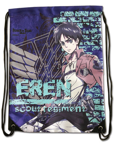 Attack On Titan - Eren Violet Drawstring Bag, an officially licensed product in our Attack On Titan Bags department.