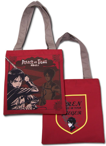 Attack On Titan - Red Eren Tote Bag, an officially licensed product in our Attack On Titan Bags department.