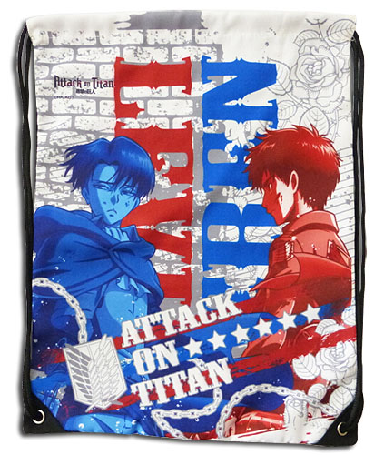Attack On Titan - Levi & Eren White Drawstring Bag, an officially licensed product in our Attack On Titan Bags department.