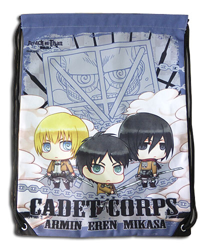 Attack On Titan - Group Purple Drawstring Bag, an officially licensed Attack On Titan product at B.A. Toys.
