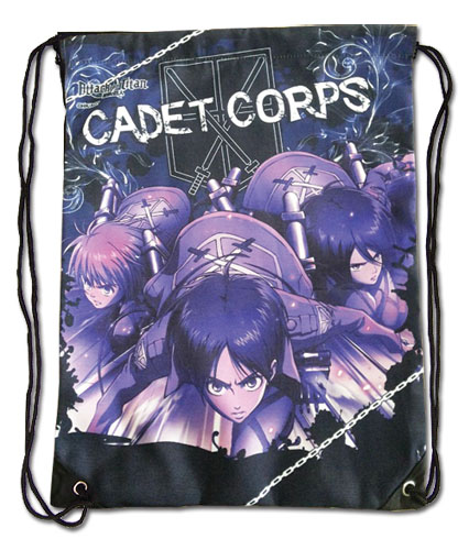 Attack On Titan - Group Navy Blue Drawstring Bag, an officially licensed product in our Attack On Titan Bags department.
