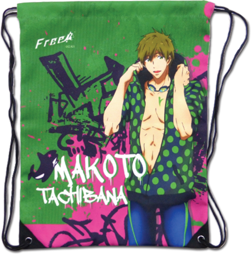 Free! - Makoto Green Drawstring Bag, an officially licensed product in our Free! Bags department.