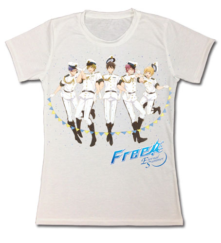 Free! - Group Navy Uniform Jrs. T-Shirt L, an officially licensed product in our Free! T-Shirts department.