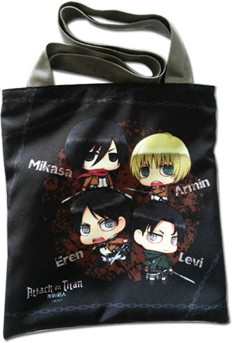Attack On Titan - Eren & Levi & Armin & Mikasa Sd Bag, an officially licensed product in our Attack On Titan Bags department.