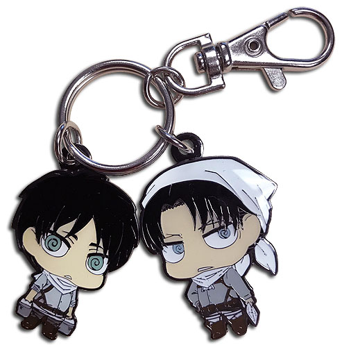 Attack On Titan - Sd Eren & Levi Cleaning Outfits Metal Keychains, an officially licensed Attack On Titan product at B.A. Toys.