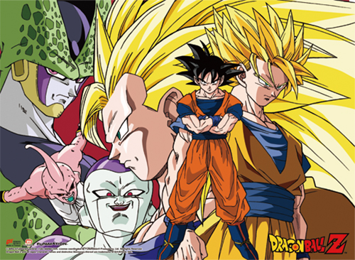 Dragon Ball Z - Goku 3 Types & Villians Wall Scroll officially licensed Dragon Ball Z Wall Scroll Posters product at B.A. Toys.