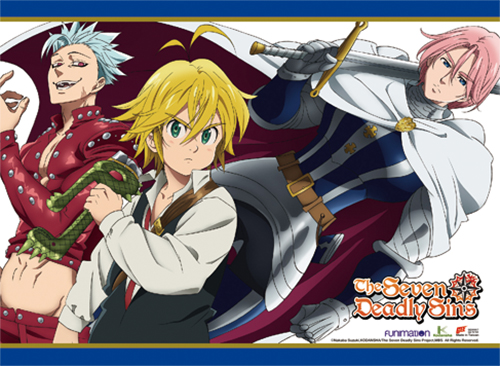 The Seven Deadly Sins - Meliodas, Ban & Golthunder Wall Scroll officially licensed The Seven Deadly Sins Wall Scroll Posters product at B.A. Toys.
