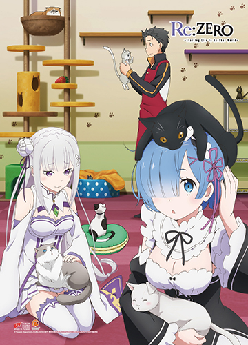Re:Zero - Characters & Cats Wall Scroll, an officially licensed product in our Re-Zero Wall Scroll Posters department.