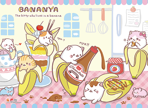 Bananya - Tea Time Wall Scroll, an officially licensed Bananya product at B.A. Toys.