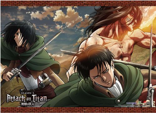 Attack On Titan 2 - Titan Eren, Mikasa & Levi Wall Scroll officially licensed Attack On Titan Wall Scroll Posters product at B.A. Toys.