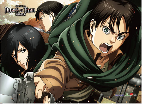 Attack On Titan - Eren, Mikasa & Levi Wall Scroll, an officially licensed Attack On Titan product at B.A. Toys.