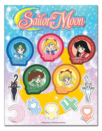 Sailormoon Characters And Symbols Sticker Sheet, an officially licensed product in our Sailor Moon Stickers department.