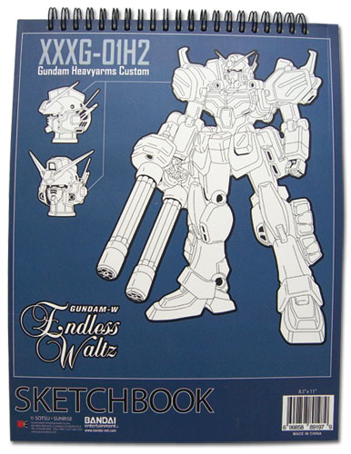 Gundam Wing Heavyarms Custom Sketchbook officially licensed Gundam Wing Stationery product at B.A. Toys.