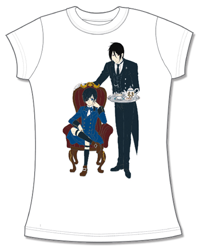 Black Butler Book Of Circus- Sebastian Ciel Jrs Screen Print T-Shirt L, an officially licensed Black Butler Book Of Circus product at B.A. Toys.