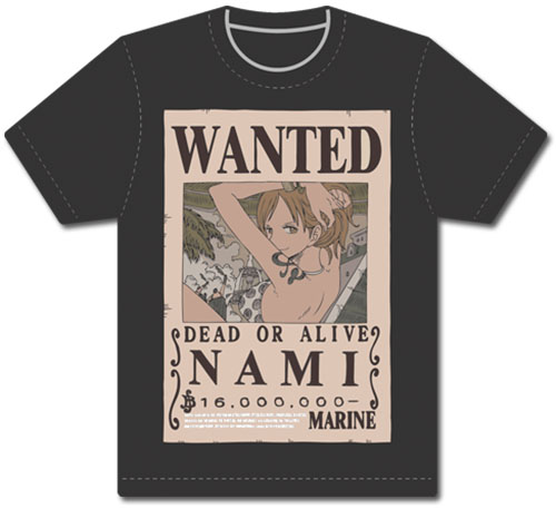 One Piece - Wanted Nami Men's Screen Print T-Shirt L officially licensed One Piece T-Shirts product at B.A. Toys.