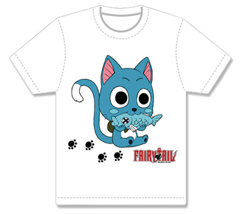 Fairy Tail - Happy Eats Fish Men's Screen Print T-Shirt XL, an officially licensed product in our Fairy Tail T-Shirts department.