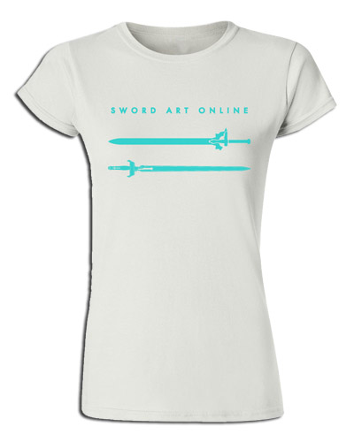Sword Art Online - Asuna & Kirito's Swords White Jrs. Screen Print T-Shirt L, an officially licensed product in our Sword Art Online T-Shirts department.