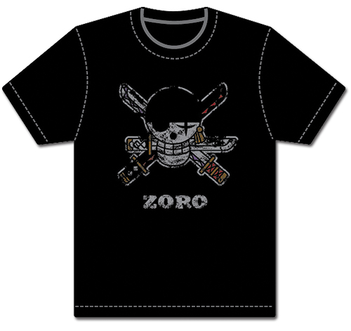 One Piece - Zoro Pirate Flag Distressed Men's T-Shirt S, an officially licensed product in our One Piece T-Shirts department.