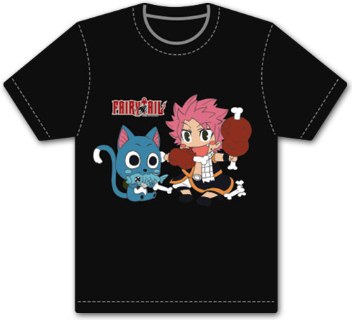 Fairy Tail - Happy & Natsu Eating Men's Screen Print T-Shirt L, an officially licensed product in our Fairy Tail T-Shirts department.