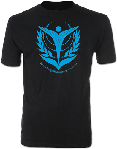 Gundam Uc - Earth Federation Screen Print T-Shirt L officially licensed Gundam Uc T-Shirts product at B.A. Toys.