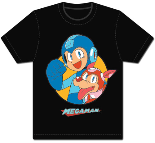 Megaman Classic - Megaman & Rush Men's Screen Print T-Shirt L, an officially licensed product in our Mega Man T-Shirts department.
