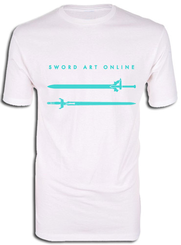 Sword Art Online - Kirito & Asuna Swords White Men's Screen Print T-Shirt L officially licensed Sword Art Online T-Shirts product at B.A. Toys.