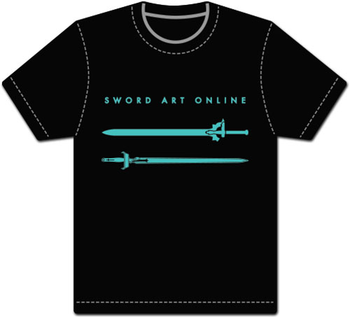 Sword Art Online - Kirito & Asuna Sword Black Men's Screen Print T-Shirt L, an officially licensed product in our Sword Art Online T-Shirts department.