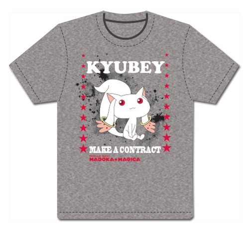 Madoka Magica - Kyubey Men's Screen Print T-Shirt S officially licensed Madoka Magica T-Shirts product at B.A. Toys.