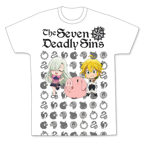 The Seven Deadly Sins - Sd Meliodas, Elizabeth & Hawk Men's Sublimation T-Shirt L, an officially licensed product in our The Seven Deadly Sins T-Shirts department.